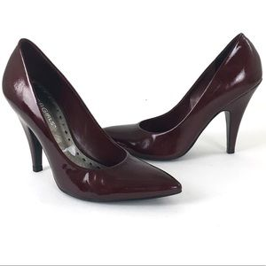 BCBGirls Patent Leather Heels 5.5 Burgundy Pointed